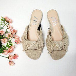 NWT Zara Knot Detail Frayed Sandal